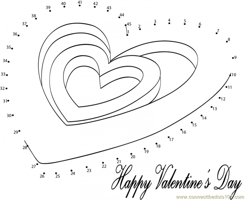Printable Valentine Dot to Dot Coloring Pages Online   HQTZH