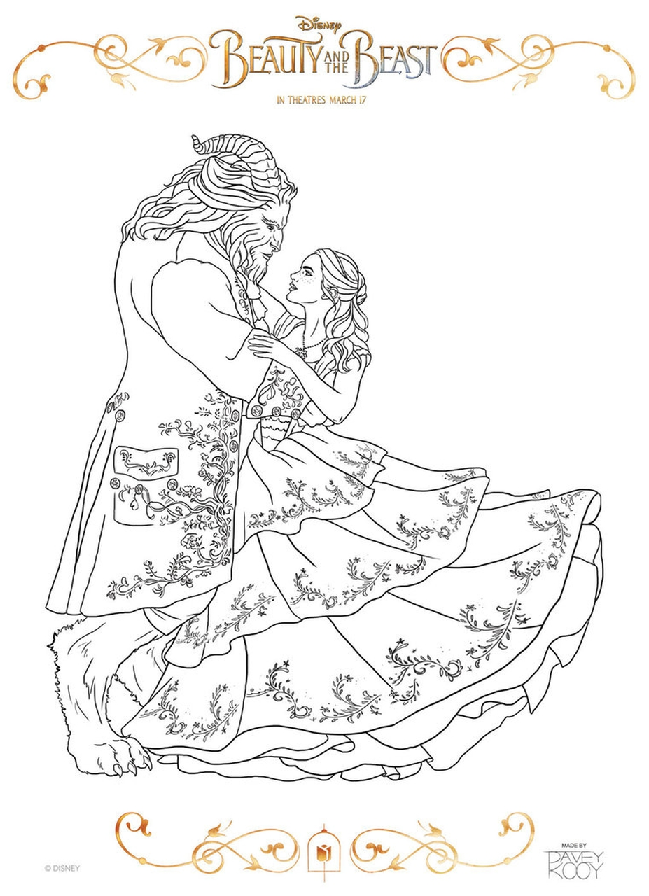 Beauty and The Beast 2017 Coloring Pages Belle and Beast Dancing 2