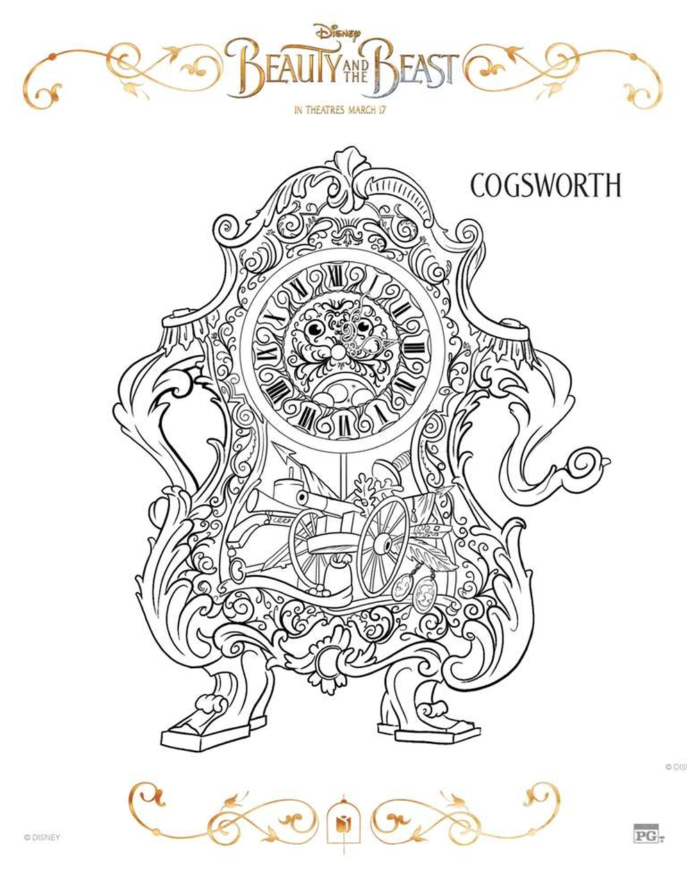 Beauty and The Beast 2017 Coloring Pages Cogsworth