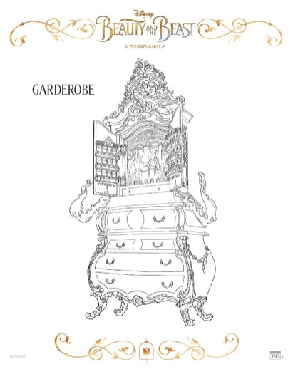 Free Printable Beauty and The Beast 2017 Coloring Pages Garderobe