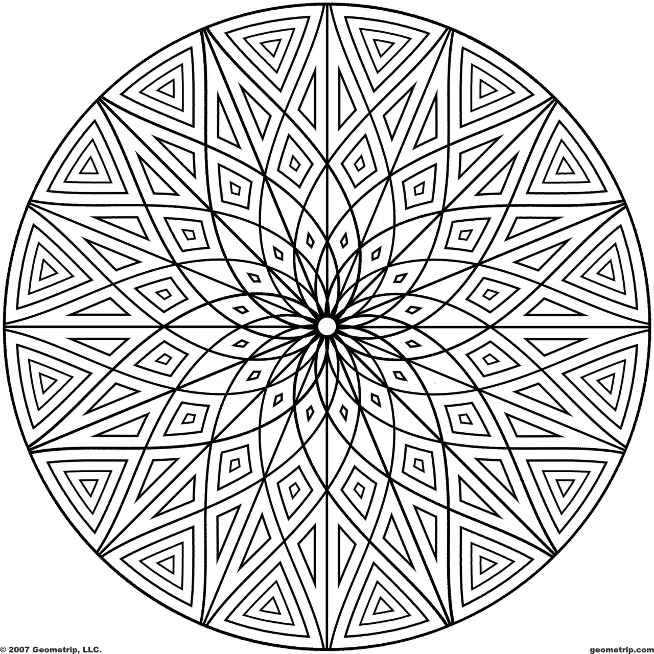 Hard Geometric Frozen Coloring Pages
