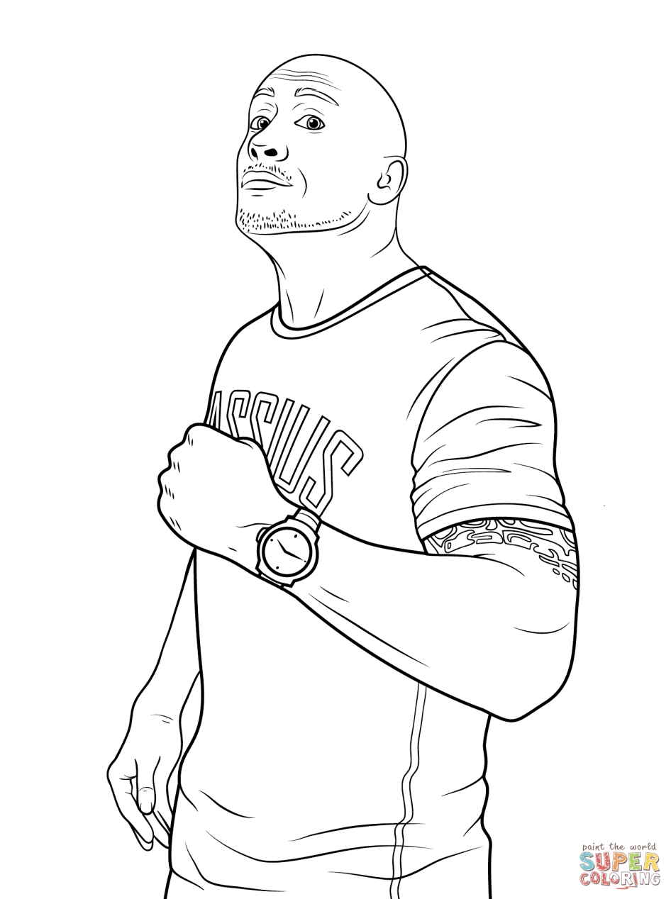Printable wwe coloring pages the rock - 21094