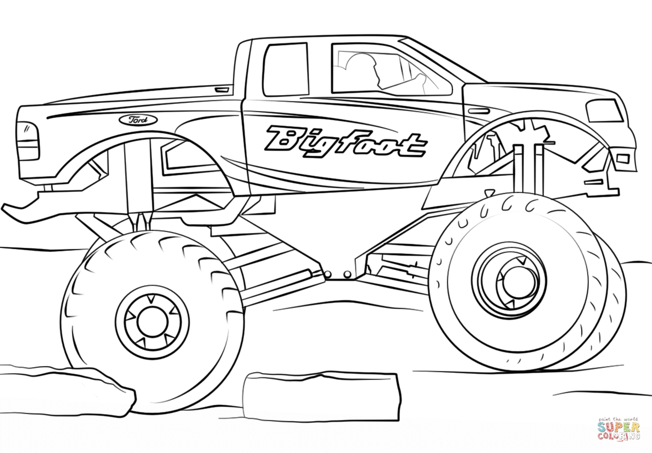 Get This bigfoot monster truck coloring page - 73610