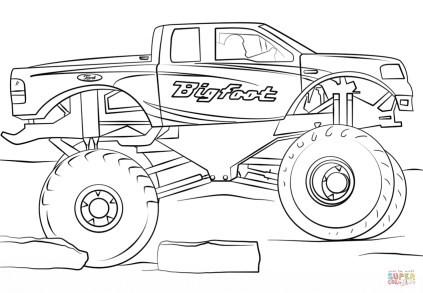 bigfoot monster truck coloring page - 73610
