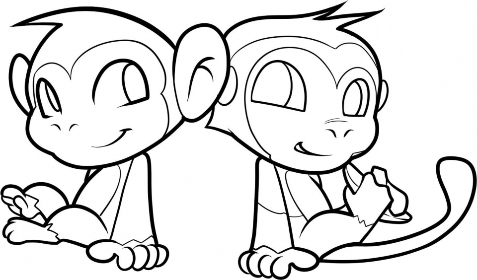 Cute Baby Monkey Coloring Pages for Kids   60418