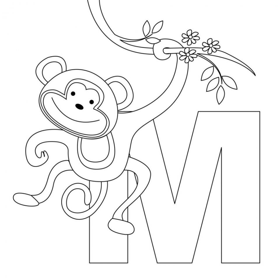 Cute Baby Monkey Coloring Pages Free to Print   18636