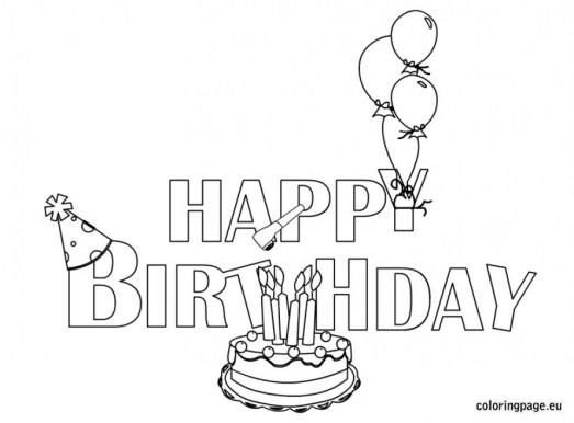 Happy Birthday Cake and Party Coloring Pages 36401