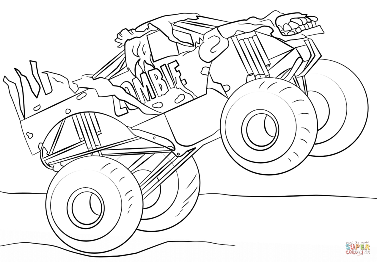 jam zombie monster truck coloring page - 09271