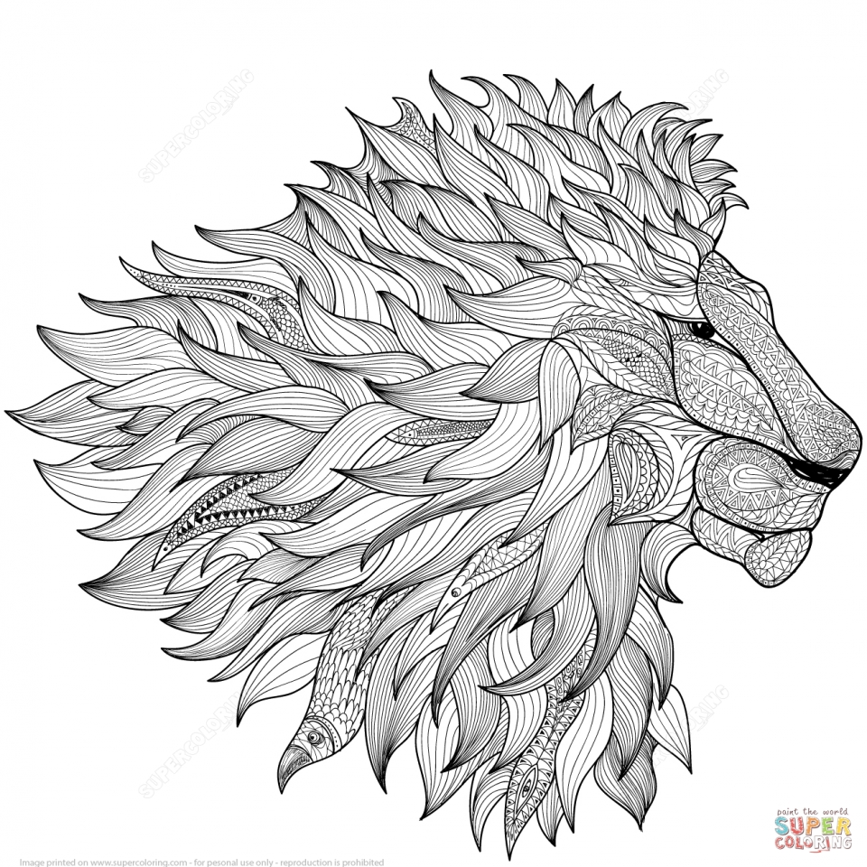 Lion Coloring Pages for Adults Free Printable   41664