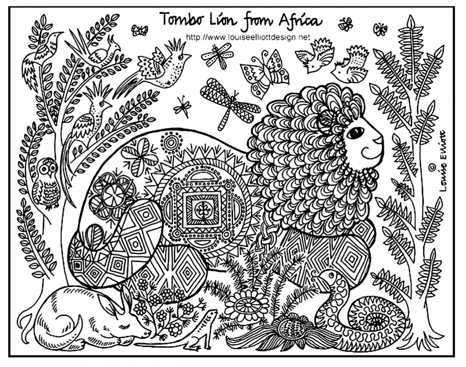 Lion Coloring Pages for Adults Free Printable   64638