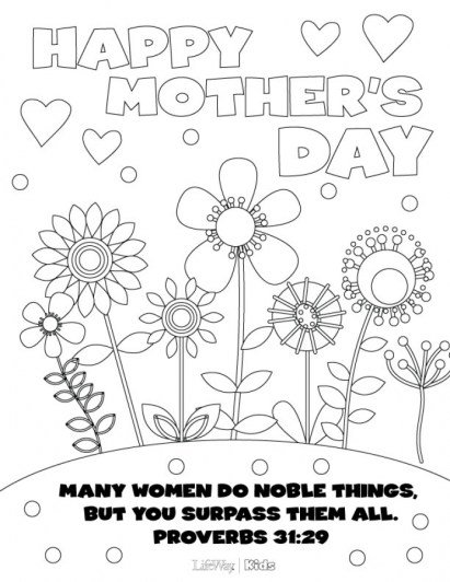 Online Mothers Day Coloring Pages to Print 17450