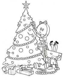 Printable Christmas Tree Coloring Pages for Children 04971