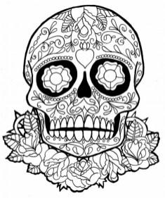 Sugar Skull Coloring Pages Adults Printable 05640