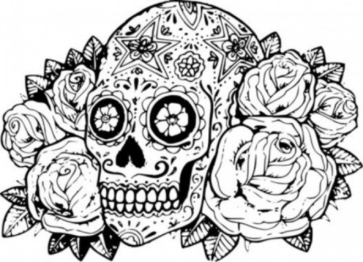 Sugar Skull Coloring Pages Adults Printable 211684