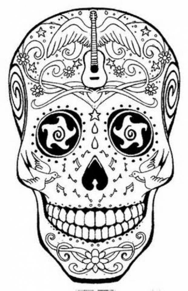 Printable Coloring Sheet Sugar Skull Coloring Pages Novocom Top