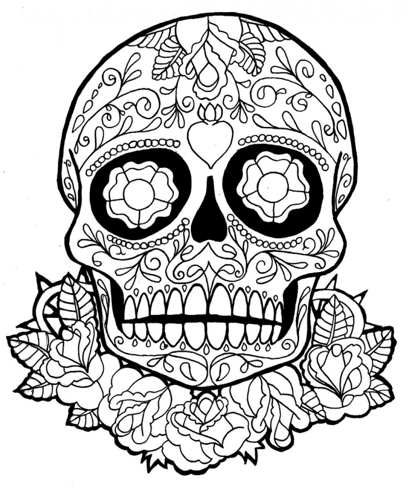 Sugar Skull Coloring Pages Free Printable for Grown Ups   317762