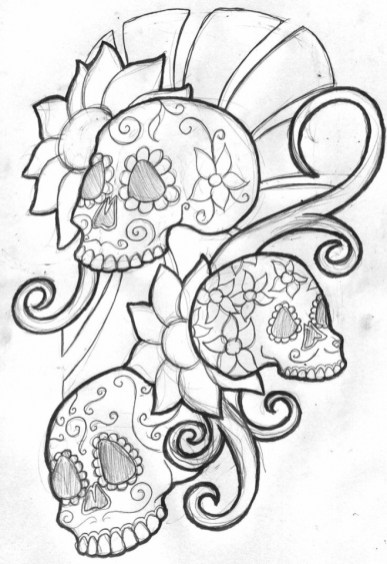 Sugar Skull Coloring Pages Free Printable for Grown Ups 46682