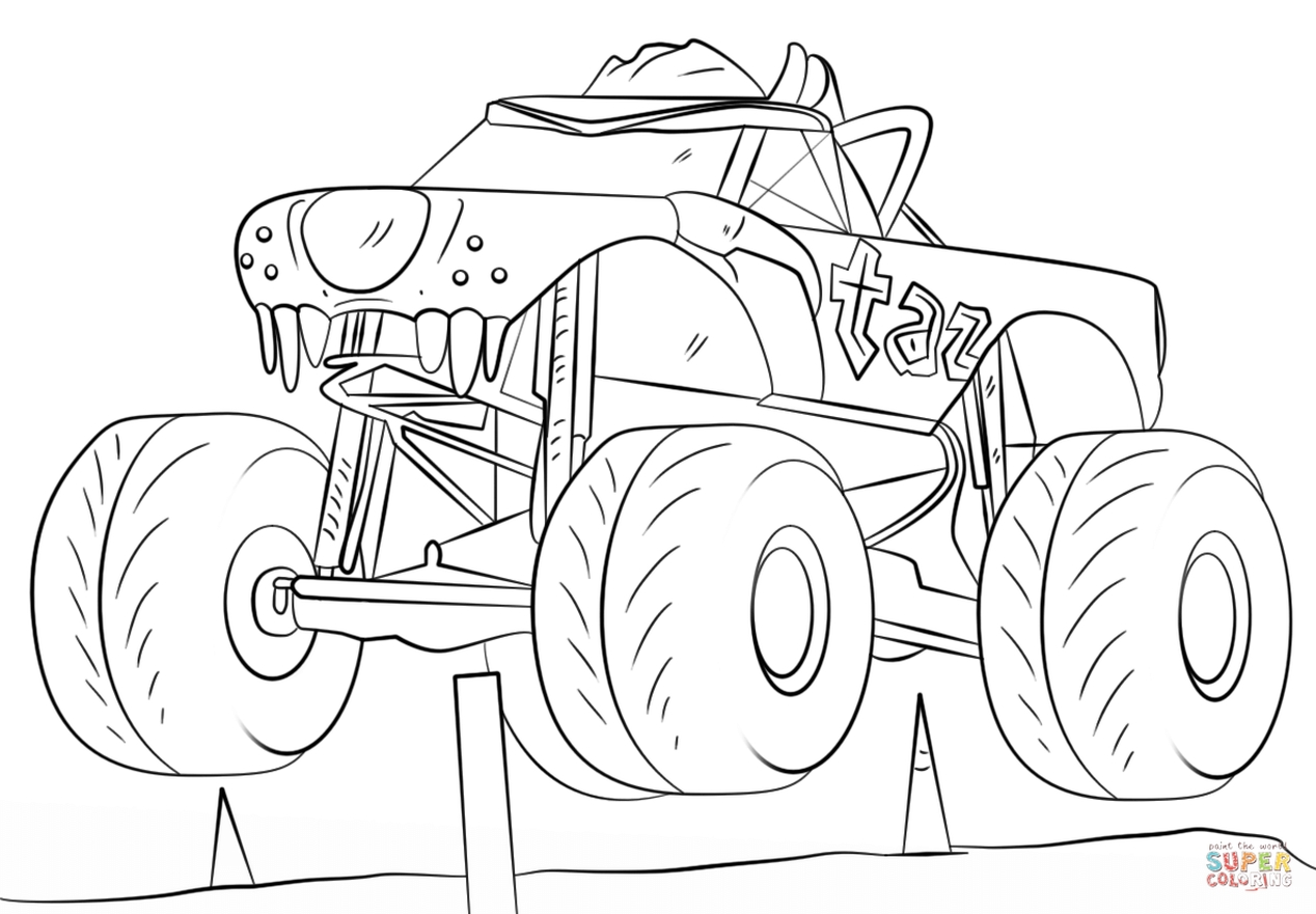 Get This taz monster truck coloring page free printable ...