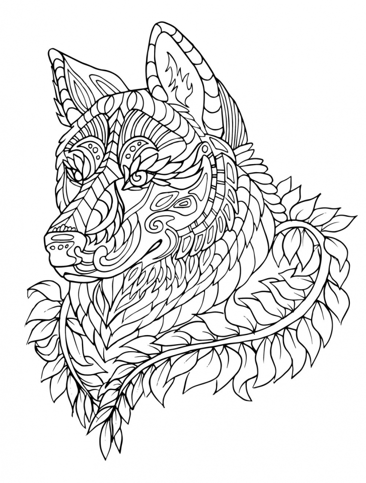 Wolf Coloring Pages for Adults to Print for Free   21637