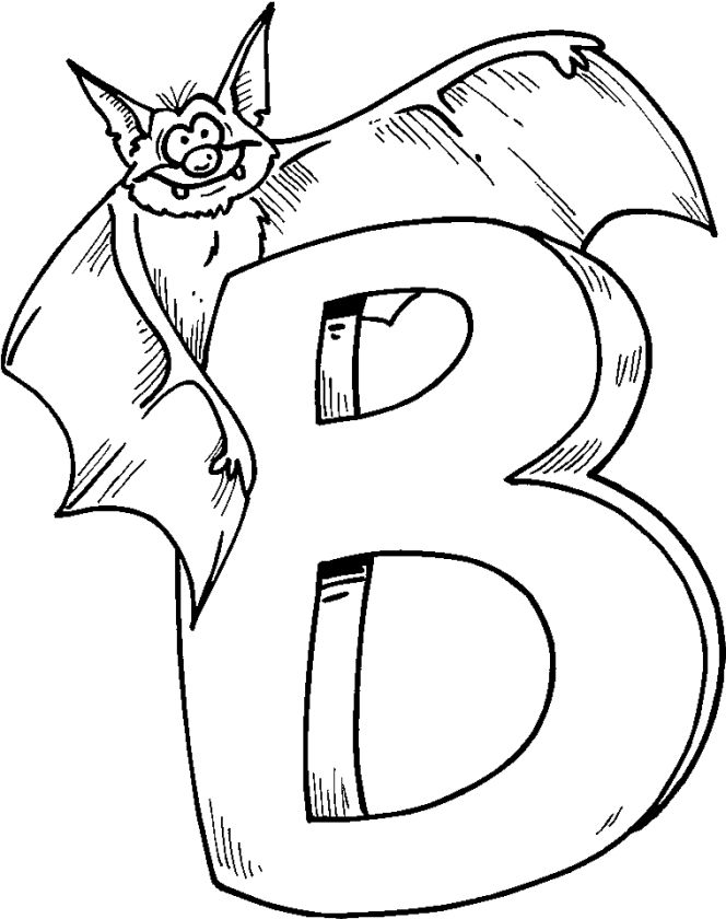 B is for Bat Coloring Pages - 89318