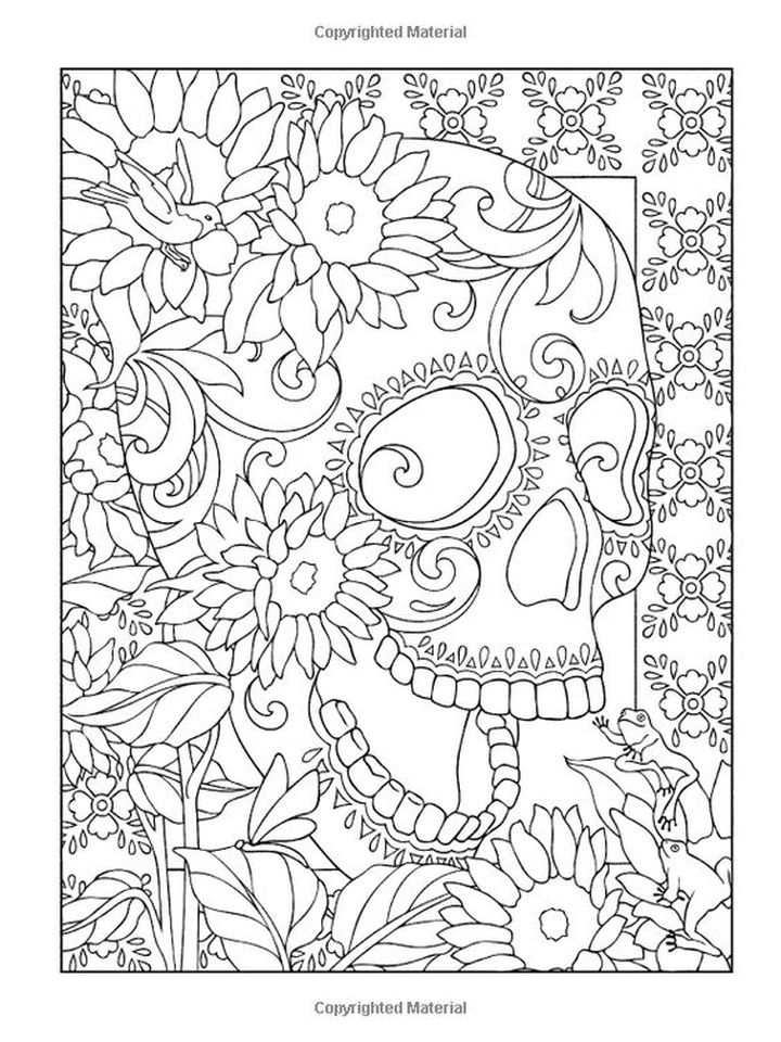 Day of the Dead Coloring Pages - Hard Coloring for Adults - 94617