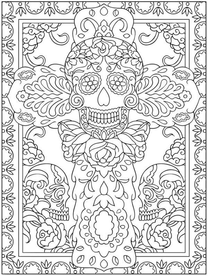 Day of the Dead Coloring Pages - Hard Coloring for Adults - tc3av