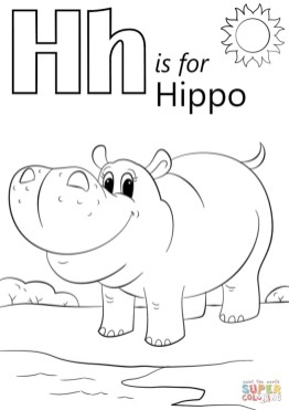 Letter H Coloring Pages Hippo - 9n42b