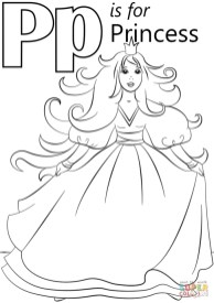 Letter P Coloring Pages Princess - p31nd
