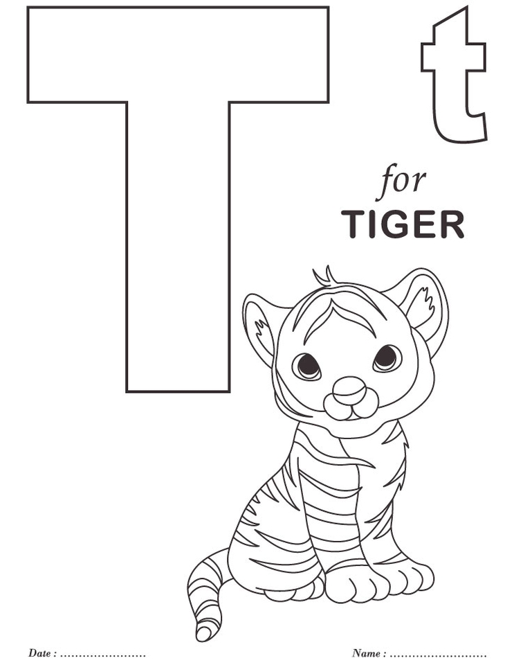 Letter T Coloring Pages Tiger - t85mm