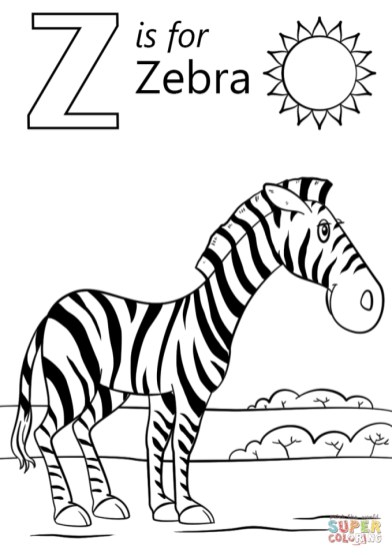 Letter Z Coloring Pages Zebra - 3anz