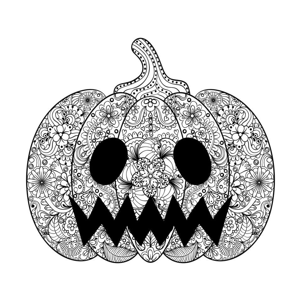 Pumpkin Coloring Pages for Adults to Print - 721jx