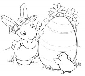 Cartoon Easter Bunny Coloring Pages for Kids 06738