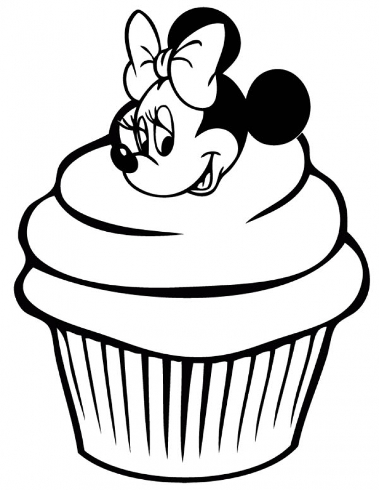 Cupcake Coloring Pages with Minnie Mouse   89412