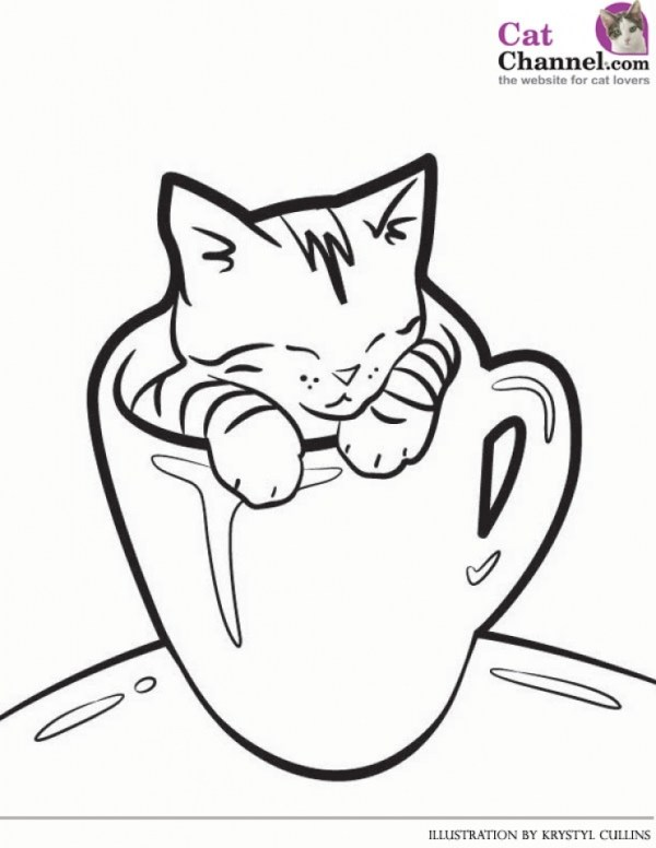 cute kitten coloring pages # 12