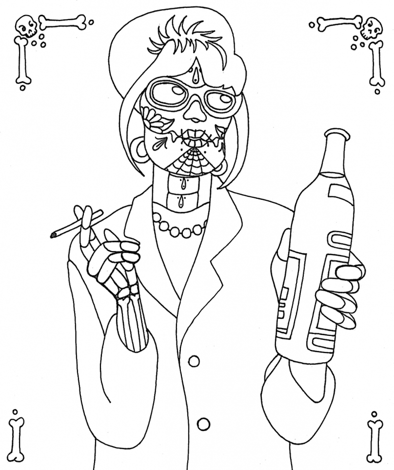 Day of the Dead Coloring Pages Free for Adults   tx218