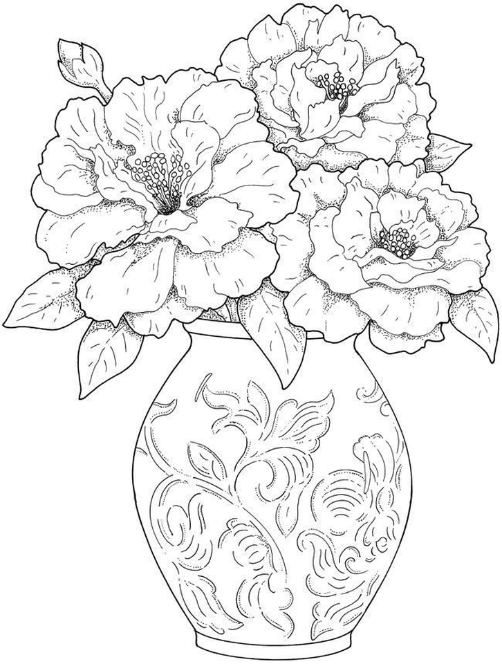 detailed flower coloring pages for adults printable - 85yf1
