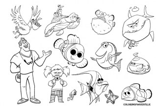 Finding Nemo Characters Coloring Pages 78401