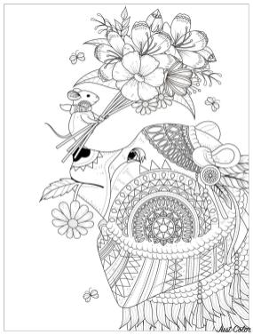 Adult Coloring Pages Animals Bear 1