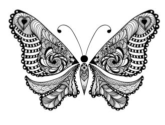 Adult Coloring Pages Animals Butterfly 1