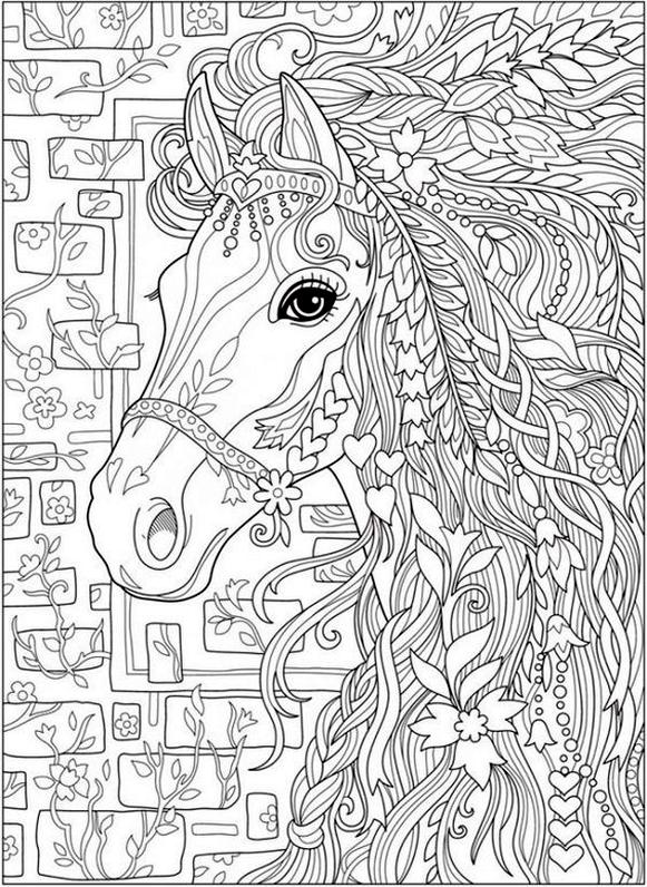 Adult Coloring Pages Animals Horse 2