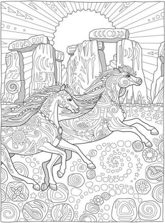 Adult Coloring Pages Animals Horse 3