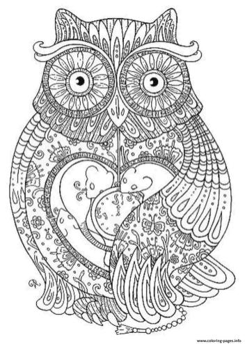 Adult Coloring Pages Animals Owl 1