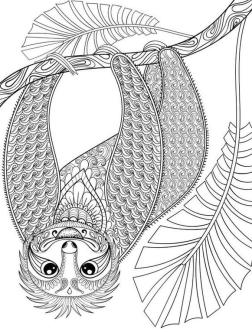 Adult Coloring Pages Animals Sloth 5