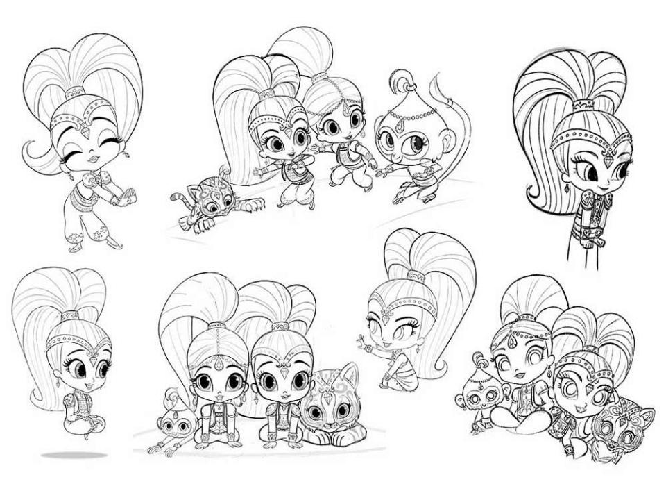 Shimmer and Shine Coloring Pages Free jbm6