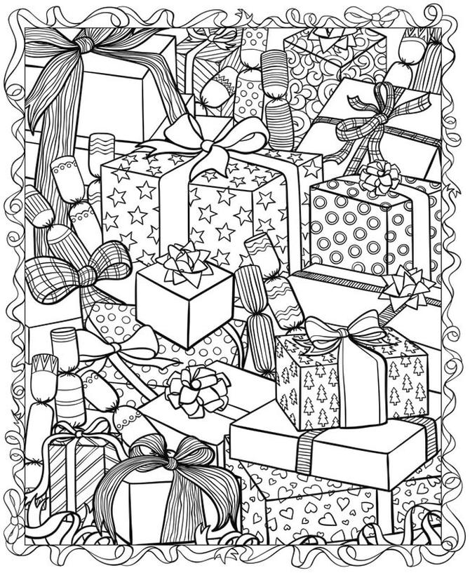 Adult Christmas Coloring Pages Free Gifts and Presents 9opz