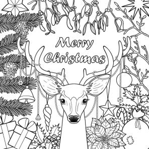 Adult Christmas Coloring Pages Free to Print Reindeer Card plm6