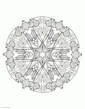 Adult Christmas Coloring Pages to Print Ornament Mandala tsc4