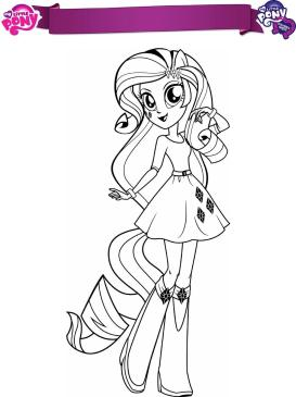 Equestria Girls Coloring Pages Pony Rarity