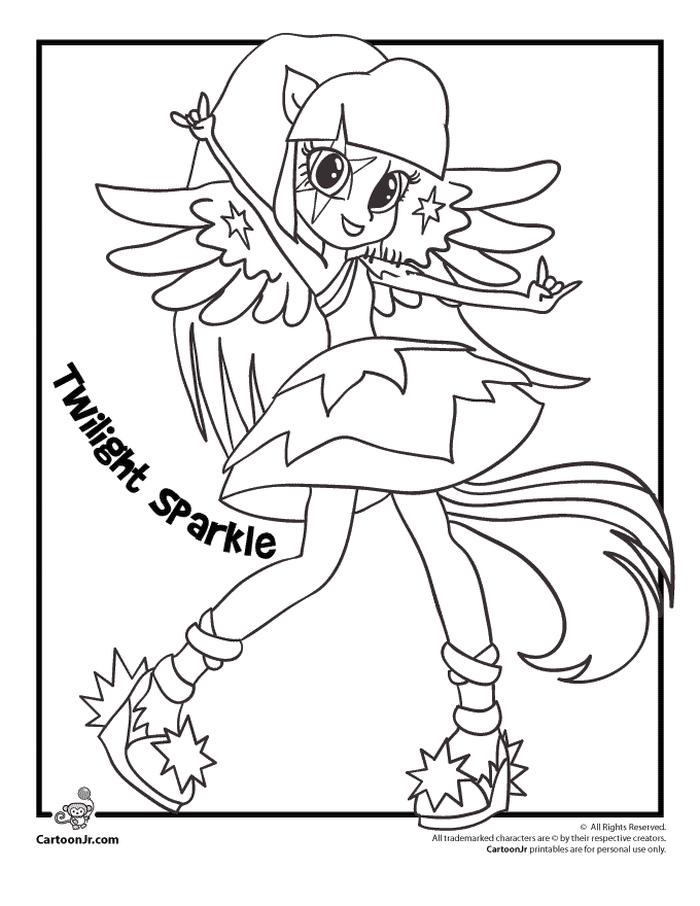 Equestria Girls Coloring Pages Pony Twilight Sparkle