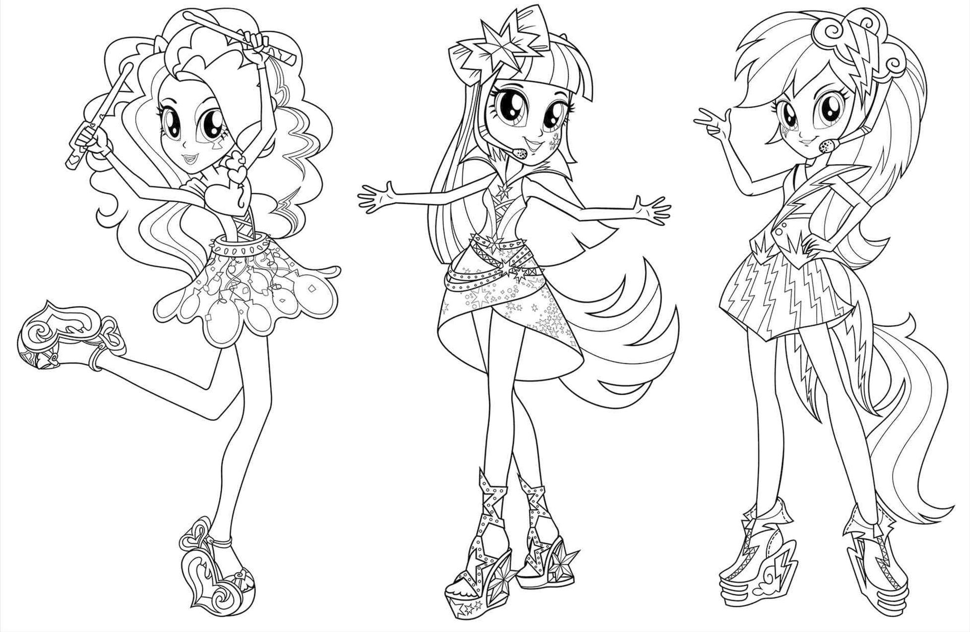Equestria Girls Coloring Pages Ready to Perform on Stage